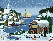 New England Snow Scene Painting Framed Prints - An End to Practice Framed Print by Merry  Kohn Buvia
