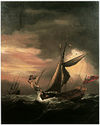 Yacht Paintings - An English Royal Yacht and Others Shipping in Heavy Seas by Willem van de Velde the Younger