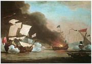 Pirate Ships Paintings - An English Ship in action with Barbary Pirates by Willem van de Velde the Younger