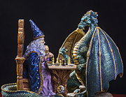 Merlin Prints - An Epic Chess Match Print by Bill Tiepelman