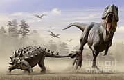 Animal Behavior Digital Art - An Euoplocephalus Hits T-rexs Foot by Mohamad Haghani