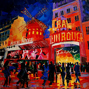 Montmartre Paintings - An Evening At Moulin Rouge by EMONA Art