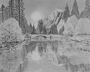 Reflection In Water Drawings Framed Prints - An Evening at Yosemite Framed Print by Laurence Wright