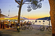 Outdoor Cafe Photo Prints - An Evening in Rovinj - Croatia Print by Madeline Ellis