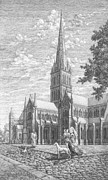 Dog Walking Drawings Prints - An evening in Salisbury. The right part of the triptych - The age of cathedrals. Print by Irina Sumanenkova