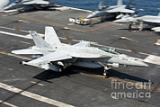 Featured Art - An Fa-18e Super Hornet Hooks An by Stocktrek Images