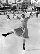 Old Skates Prints - An Ice Dancer Shows Her Moves Print by Underwood Archives
