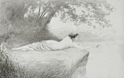 Odalisque Drawings Metal Prints - An Idyll Metal Print by Charles Prosper Sainton