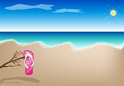 Locations Painting Prints - An Illustration of A Sandal on The Beach Print by Iam Nee
