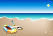 Toy Boat Painting Posters - An Illustration of Inflatable Boat and Scuba Mask Poster by Iam Nee