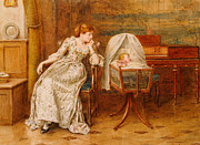 Old Age Painting Prints - An Interior with a Mother and Child Print by George Goodwin Kilburne