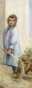 Full-length Portrait Posters - An Italian Peasant Girl Poster by Ada M Shrimpton