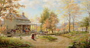New York State Painting Framed Prints - An October Day Framed Print by Edward Lamson Henry