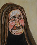 Impressionism Acrylic Prints Art - An Old Arab Woman by Esther Newman-Cohen