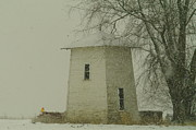 Old Barns Metal Prints - An Old Bin In The Snow Metal Print by Jeff  Swan