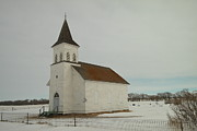 Old Relics Photos - An Old Church In North Dakota by Jeff  Swan