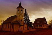 Old Mills Prints - An Old Church In Williston North Dakota  Print by Jeff  Swan