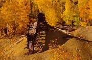 Abandoned Buildings Prints - An Old Colorado Mine In Autumn Print by Jeff  Swan