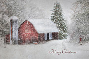 Barn Digital Art Posters - An Old Fashioned Merry Christmas Poster by Lori Deiter