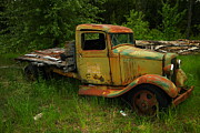 Old Trucks Photo Metal Prints - An Old Flatbed Metal Print by Jeff  Swan