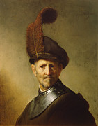 Rembrandt Paintings - An Old Man in Military Costume by Rembrandt van Rijn