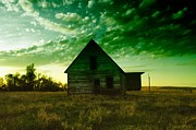 Old Farm Houses Prints - An Old North Dakota Farm House Print by Jeff  Swan