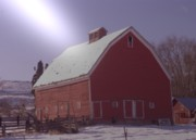 Red Buildings Prints - An Old Red Barn  Print by Jeff  Swan