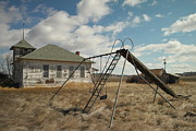School Houses Art - An Old School Near Miles City Montana by Jeff  Swan