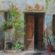 Potted Plant Paintings - An Open Door Milan Italy by Anna Bain