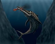 Food Chain Digital Art Posters - An Ophthalmosaurus Catches A Squid Poster by Vitor Silva