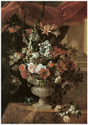 Carnation Painting Metal Prints - An Urn of Flowers Metal Print by Jean Baptiste Monnoyer