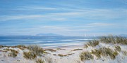 Sand Dunes Paintings - Anacapa And Santa Cruz Island Thru The Dunes by Tina Obrien