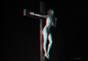 Kreuz Prints - Anaglyph Dark Crucifix Print by Ramon Martinez