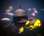 Shark Digital Art Prints - Anaglyph Shark and Fishes Print by Ramon Martinez