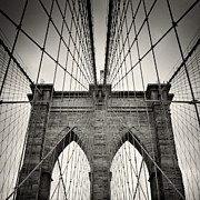 Analog Posters - Analog Photography - New York Brooklyn Bridge Poster by Alexander Voss