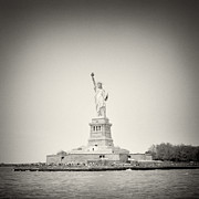 Analog Framed Prints - Analog Photography - New York Liberty Island Framed Print by Alexander Voss
