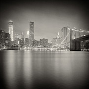 Analog Posters - Analog Photography - New York Skyline at Night Poster by Alexander Voss