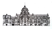 Hall Drawings Prints - Ananta Samakom Throne Hall Print by Yok Bloommifild