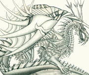 Beautiful Creek Drawings Prints - Anareil the Chaos Dragon Print by Shawn Dall