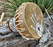 Hand Crafted Pyrography - Anasazi Drum Beat by Whitehawk