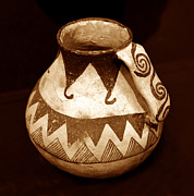 Anasazi Posters - Anasazi Jug with spiral handle Poster by David Lee Thompson