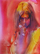 Native American Watercolor Paintings - Anastasia by Robert Hooper