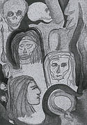 Heads Mixed Media - Ancestral Cave bw by jrr by First Star Art