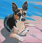 On Deck Painting Posters - Ancho A Portrait of a Cute little Dog Poster by Phyllis Kaltenbach
