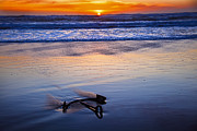 Setting Framed Prints - Anchor Ocean Beach Framed Print by Garry Gay