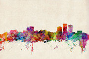 Urban Watercolour Framed Prints - Anchorage Skyline Framed Print by Michael Tompsett