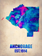 Irina  March - Anchorage Watercolor Map