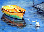 Docked Boat Painting Prints - Anchored Print by Ruth Bodycott