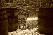 Stone Floor Photos - Anchors Aweigh - sepia by Marilyn Wilson