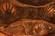 Reverse Art Photo Prints - Ancient Anasazi Sandstone Hand Prints Print by Gary Whitton